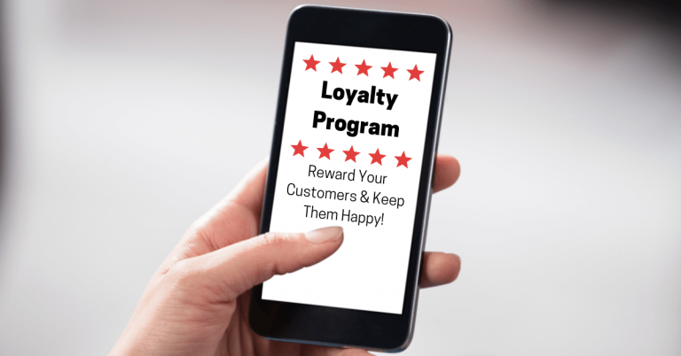 a hand holding a smartphone with red stars and text saying loyalty program, reward your customers and keep them happy