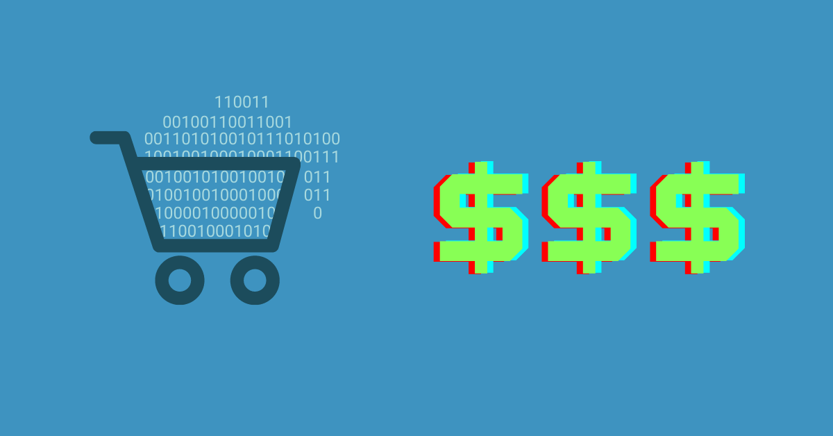 dark blue outline of a shopping cart overflowing with light blue zeros and ones to represent data next to three green dollar signs with a medium blue background to depict the title of the blog post, turning retail data into dollars