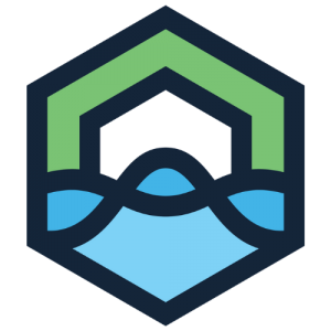 DataLakeHouse logo depicting a green house over a blue lake with a wave in it to represent the dynamic nature of data and analytics
