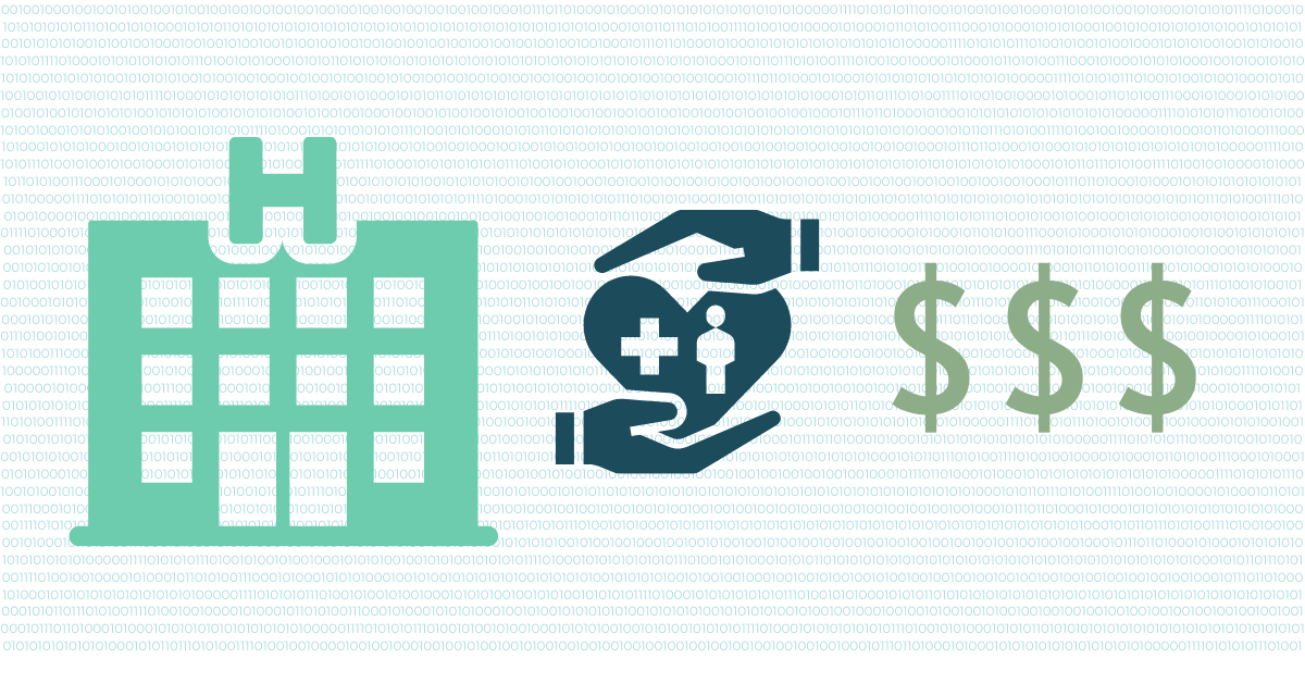 teal colored hospital graphic next to a dark blue image of hands below and above a heart with a medical cross and person inside of it and three green dollar signs pictured below and lines of light blue zeros and ones in the background shown to depict turning hospital data into dollars