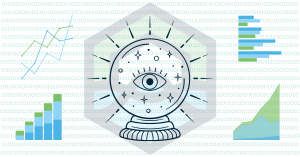 a dark blue crystal ball over the DataLakeHouse logo surrounded by several different types of graphs and charts with teal zeros and ones in the background is pictured to represent the insights and predictions offered by the DataLakeHouse platform that can guide effective business decision making
