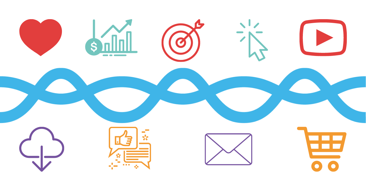 image of light blue wave from DataLakeHouse logo centered with red heart, teal bar graph, ret target with an arrow in the center of it, teal mouse arrow, and red YouTube logo pictured above, and purple cloud with an arrow pointing down, orange thumbs up and comment bubbles, purple email envelope, and orange shopping cart, pictured below to represent various important marketing metrics