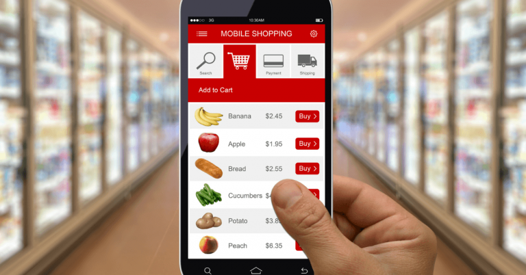 close up image of someone using a smartphone application to shop