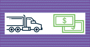 dark blue semi truck heading towards dollar bills against a purple background with light blue zeros and ones to represent data to depict turning transportation and logistics data into dollars