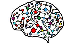 illustration of various different colored dots connected within an outline of a brain to depict an abstract visualization of machine learning