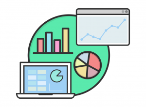 image of various visual representations of data including a bar graph, a pie chart, and a graph with a trendline