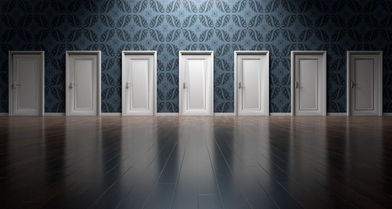 seven identical white doors in a row shown to represent the complexity of discerning the differences between the terms business intelligence and business analytics