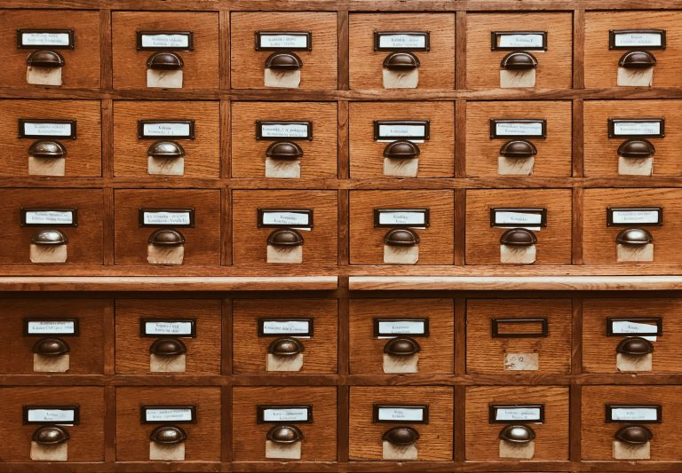 a wooden card catalog is shown to represent the enormous amounts of data most organizations collect