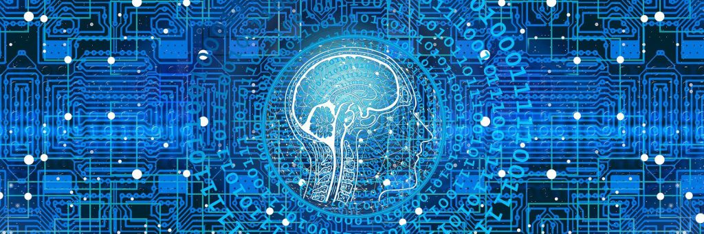 the image is intended to offer a visual representation of machine learning by showing a depiction of an outline of a human and it's brain with zeros and ones in and around it to represent coding with a blue motherboard background